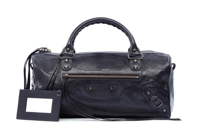 Balenciaga Big Lambskin Soft Black Leather Satchel Balenciaga Big Lambskin Soft Black Leather Satchel Image 1