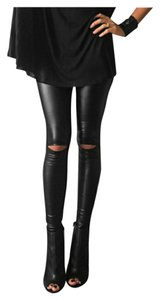 Knee Out High Waist Black Leggings