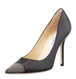 Jimmy Choo Studded Kid Leather Designer Black, Silver Pumps