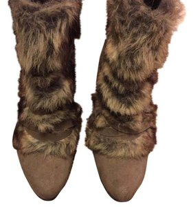 Elie for Khols Taupe suede and faux fur Boots