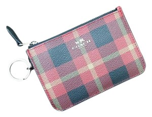 Coach Riley Plaid Coated Canvas Key Pouch Wallet True Red Multi F55990