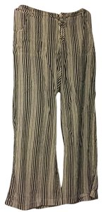 Just Living Beach Coverup Rayon Baggy Pants Navy/Cream Stripe