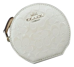 Coach Signature Debossed Patent Leather Round Coin Purse