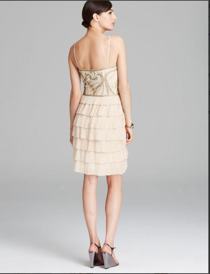 Sue Wong Champagne Beige Gatsby Beaded Bodice Tiered Above Knee ...