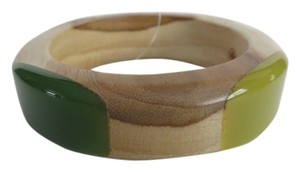 Tory Burch New Tory Burch Wooden and 2 Tone Green Resin Bangle Bracelet Size S