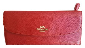Coach CROSSGRAIN LEATHER SOFT WALLET IN RED