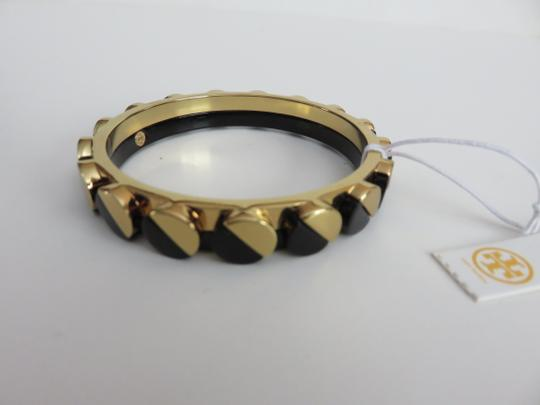 Tory Burch Nwt Tory Burch Connor Gold Tone And Black Bangle Bracelet Size Small