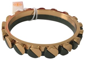 Tory Burch Nwt Tory Burch Connor Gold Tone Green Bangle Bracelet Size Small