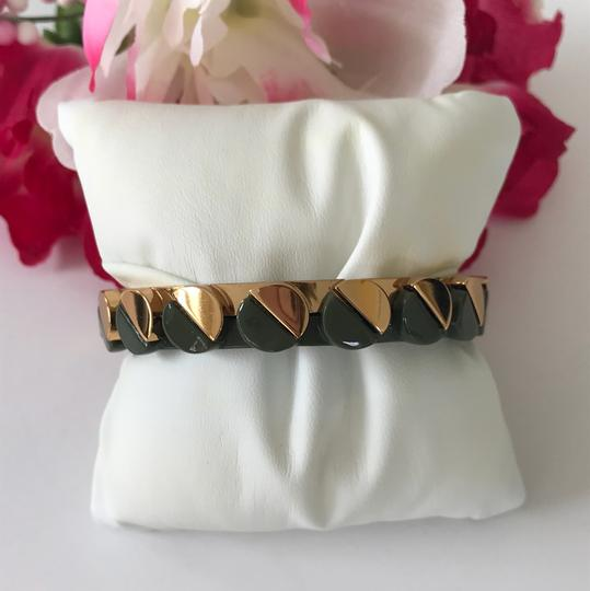 Tory Burch Nwt Tory Burch Connor Gold Tone Green Bangle Bracelet Size Small Image 5
