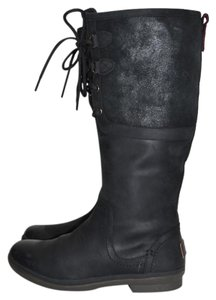 UGG Australia Tall Winter Cold Weather Riding Moto BLACK LEATHER Boots