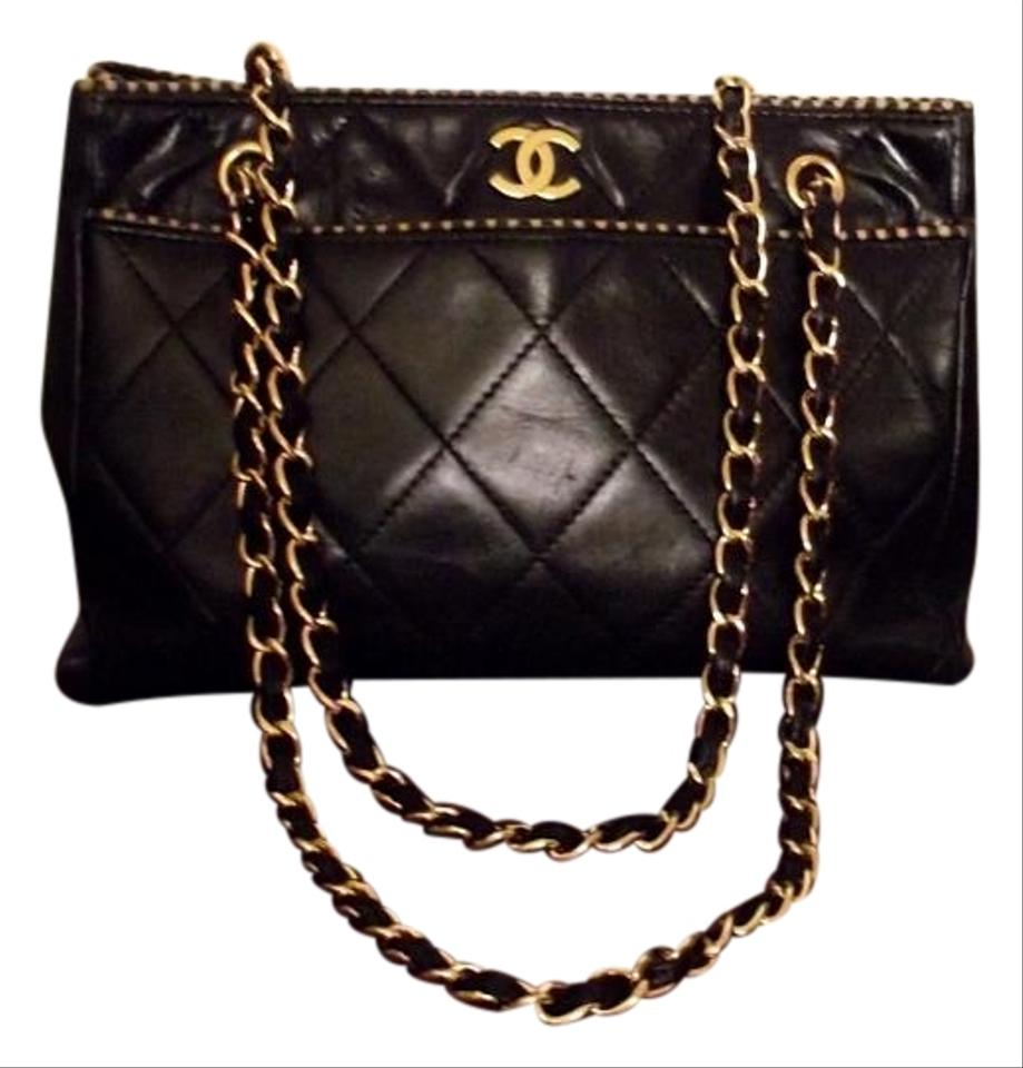 Chanel Vintage Quilted Lambskin Chain Shoulder Strap Black Leather