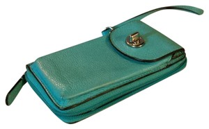 Coach Teal leather wallet with strap