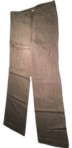 Tory Burch Wool Classic Trouser Pants Chocolate Brown and Cream Herringbone