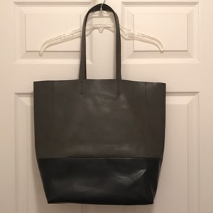 Sorial Faux Leather Vegan Vegan Leather Tote in Grey Navy Blue