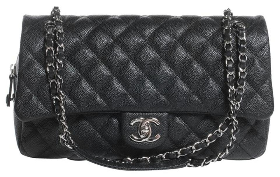 63e626370123 Chanel Classic Quilted Caviar Easy Flap Jumbo Shoulder Black Leather ...