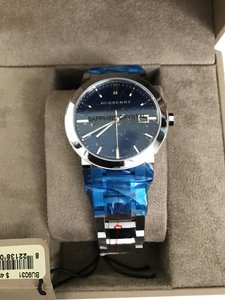 Burberry Blue Check Stamped Dial Stainless Steel Unisex Stainless Steel Watch