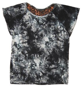 Forever 21 Tie Dye Flowy Lace T Shirt Black/Gray