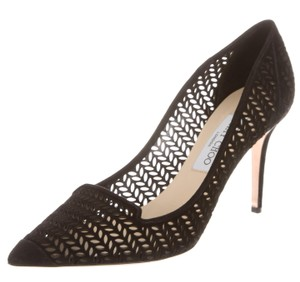 Jimmy Choo Suede Pointed Toe Cut-out Black Pumps
