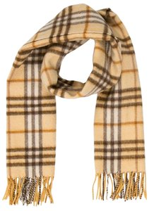 Burberry Beige, yellow Burberry Nouse Check print cashmere scarf