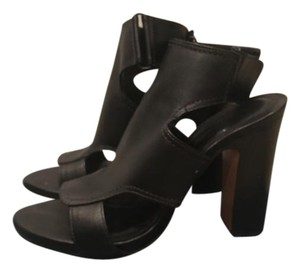 Pour La Victoire Leather Chunky Ankle Strap Black Sandals