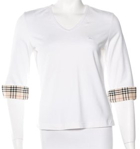 Burberry Nova Check Plaid Monogram Top Beige, White
