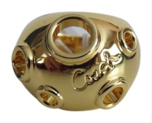 Coach New Coach Gold Tone Signature Logo Open Circles Domed Ring Size 5.5