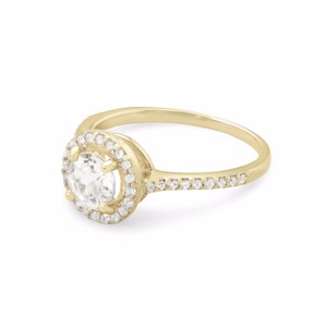 9.2.5 10 Karat Gold Halo Style Ring With White Topaz And Sapphires