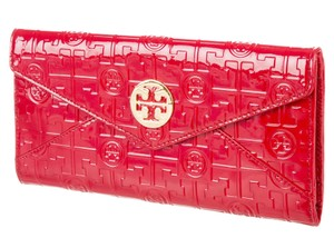 Tory Burch Red Tory Burch patent leather logo embossed wallet