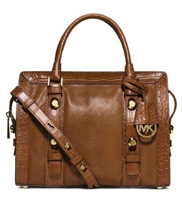 Michael Kors Collins Stud Satchel in Walnut / Gold