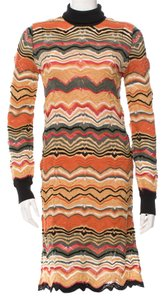 Missoni short dress Brown, Orange, Pink Knit Striped Chevron V-neck Longsleeve on Tradesy