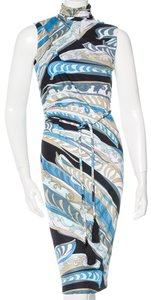 Emilio Pucci Belted Gold Hardware Print Dress