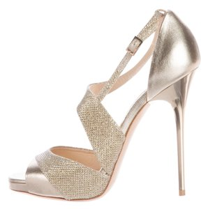 Jimmy Choo Hardware Glitter Ankle Strap Tyne Strappy Gold Sandals
