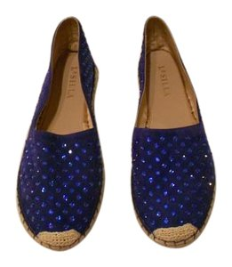 Le Silla Crystal Studded Espadrille Made In Italy Blue Flats