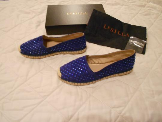 Le Silla Crystal Studded Espadrille Made In Italy Blue Flats Image 1
