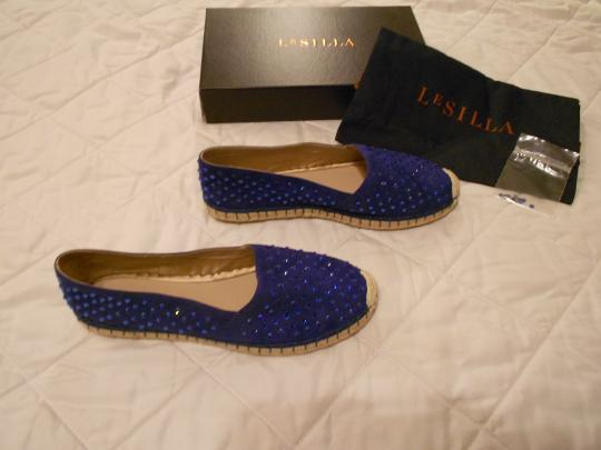 Le Silla Crystal Studded Espadrille Made In Italy Blue Flats Image 2