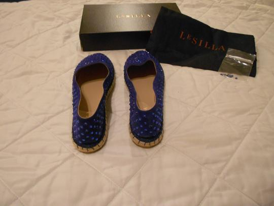 Le Silla Crystal Studded Espadrille Made In Italy Blue Flats Image 3