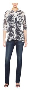 J Brand Maternity Pregnancy Denim Side Panel Stretch Low Rise Straight Leg Jeans-Dark Rinse