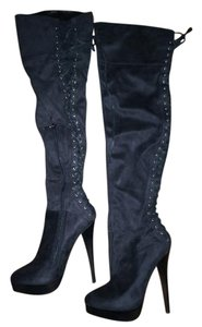 bebe Over-the-knee Suede Black Boots