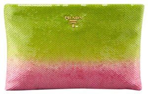 Prada Green And Pink Clutch