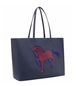 Tory Burch Leather Tote in True Navy