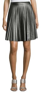 Tahari Faux Leather Pleated A-line Skirt Thunder