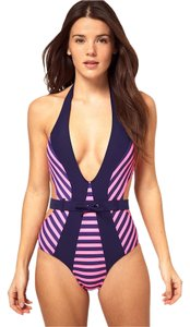 f283fe79d36914 ASOS Asos Purple Cut Out One Piece In Stripe Print With Belt Detail