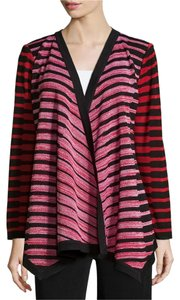 Misook Open Front Long Woven Knit Relaxed Fit Black/Red Multi-Color Jacket