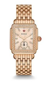 Michele MICHELE DECO 16 ROSE GOLD-TONE BEIGE DIAMOND DIAL LADIES WATCH