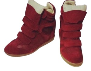 Isabel Marant Stylish Suede Cute Imported Red Burghandy Wedges