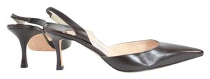 Manolo Blahnik Brown Leather Slingback Pumps