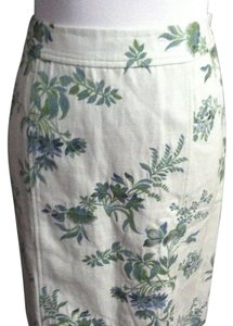 Ann Taylor Skirt White green and blue