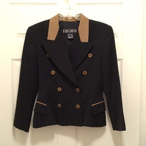 Escada Wool Jacket Designer Classic Black Tan Blazer
