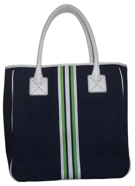 Item - Navy White & Green Man Made Tote