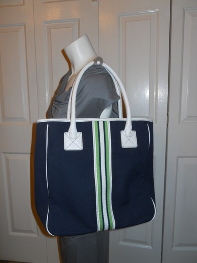 Ann Taylor LOFT Tote in navy, white & green Image 1